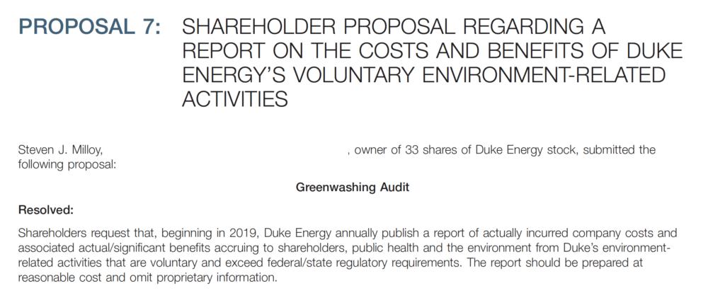 Duke Energy proxy statement issued: Pro-coal vs  Anti-coal