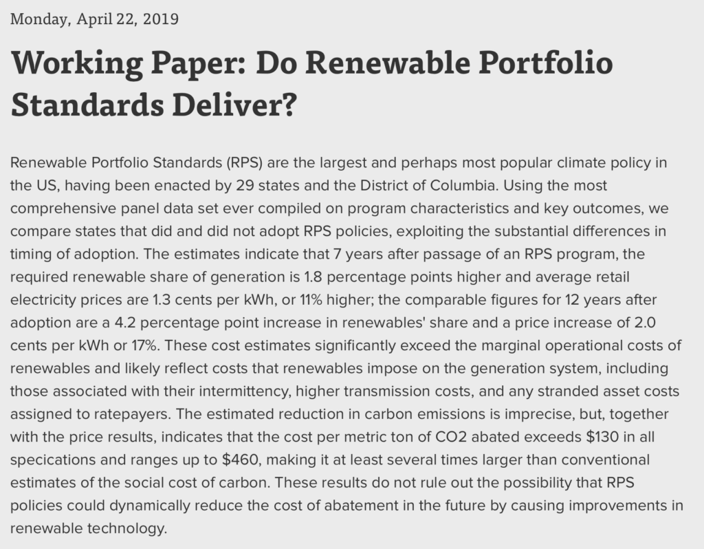 Wind/solar mandates are a costly fail, reports University of Chicago